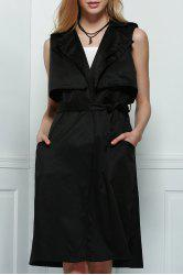 Belted Trench Style Midi Waistcoat