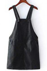 Stylish PU Leather Two Pockets Women's Suspender Skirt - BLACK
