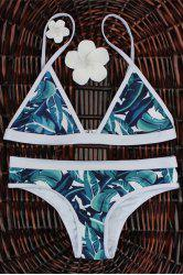 High-Cut Palm Leaf Print Bikini Set - COLORMIX L
