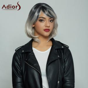 Elegant Medium Side Bang Fluffy Wavy Synthetic Mixed Color Wig For Women - Colormix
