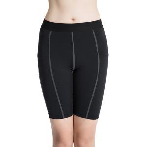 Fitted Solid Color Quick-Dry Women's Gym Cropped Pants - Black - M
