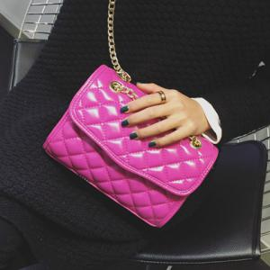 Trendy Checked and Chains Design Crossbody Bag For Women - Pink