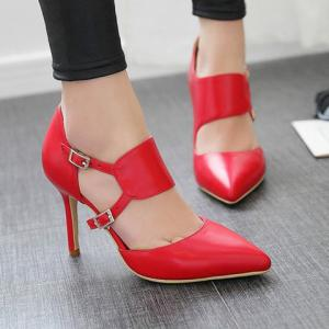 Stylish Pointed Toe and Double Buckle Design Pumps For Women - RED 38