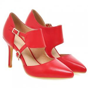 Stylish Pointed Toe and Double Buckle Design Pumps For Women - RED 39