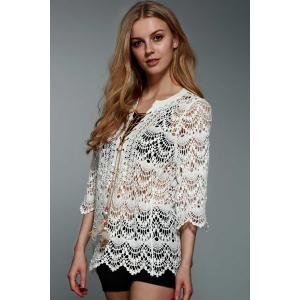 Graceful Round Collar 3/4 Sleeve Hollow Out Lace-Up Crochet White Blouse For Women -
