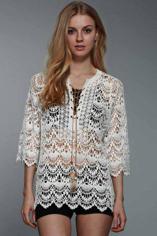Outfits Graceful Round Collar 3/4 Sleeve Hollow Out Lace-Up Crochet White Blouse For Women