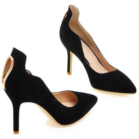 Trendy Trendy Metal and Hollow Out Design Pumps For Women - 37 BLACK Mobile