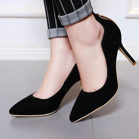 Online Trendy Metal and Hollow Out Design Pumps For Women - 37 BLACK Mobile