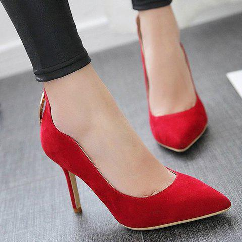 Hot Trendy Metal and Hollow Out Design Pumps For Women - 35 RED Mobile