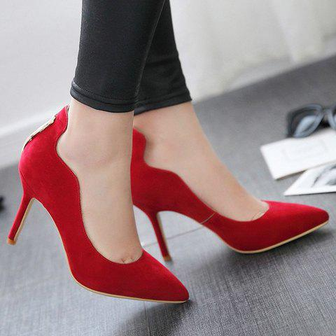 Fashion Trendy Metal and Hollow Out Design Pumps For Women - 35 RED Mobile