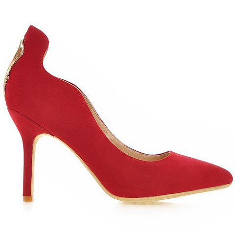 Shops Trendy Metal and Hollow Out Design Pumps For Women - 35 RED Mobile