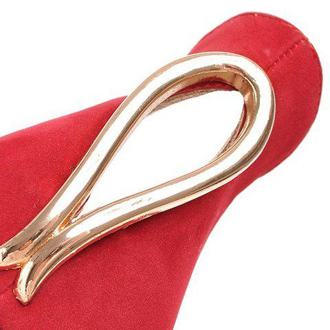 Shop Trendy Metal and Hollow Out Design Pumps For Women - 35 RED Mobile