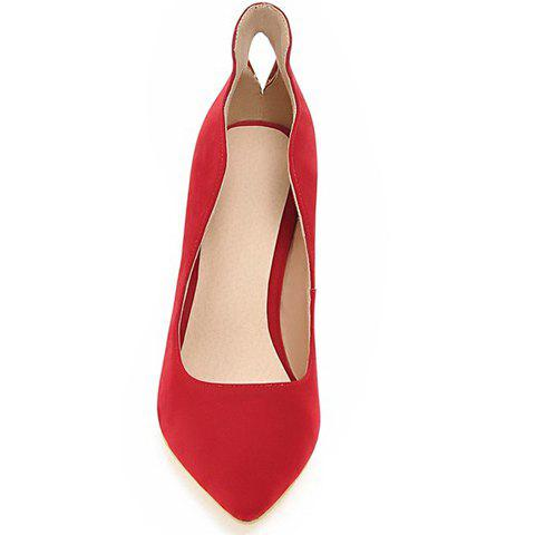 New Trendy Metal and Hollow Out Design Pumps For Women - 35 RED Mobile