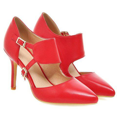 Chic Stylish Pointed Toe and Double Buckle Design Pumps For Women - 39 RED Mobile