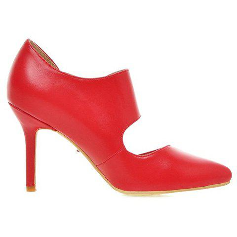 Discount Stylish Pointed Toe and Double Buckle Design Pumps For Women - 39 RED Mobile