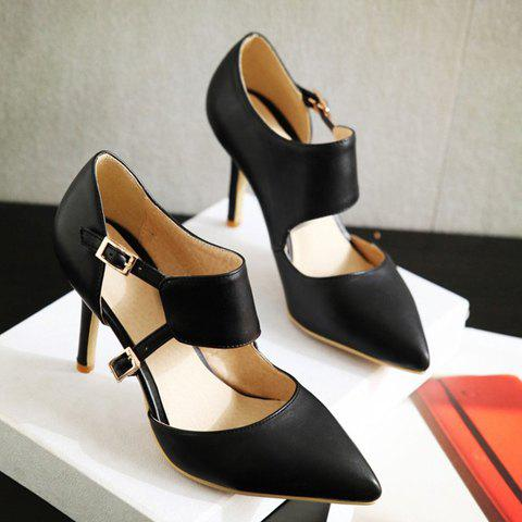 Cheap Stylish Pointed Toe and Double Buckle Design Pumps For Women - 39 BLACK Mobile