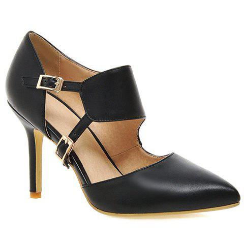 New Stylish Pointed Toe and Double Buckle Design Pumps For Women - 39 BLACK Mobile
