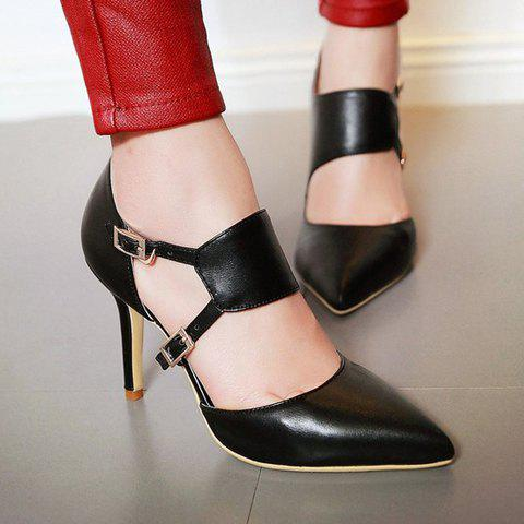 Fashion Stylish Pointed Toe and Double Buckle Design Pumps For Women - 39 BLACK Mobile