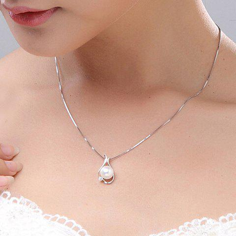 Online Alloy Rhinestone Faux Pearl Pendant Necklace