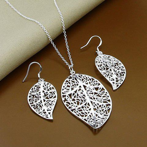 Store A Suit of Alloy Leaf Hollow Out Necklace and Earrings