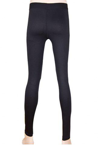 Affordable Simple Elasitc Waist Solid Color Fitted Women's Pants - M BLACK Mobile