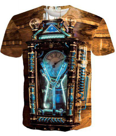Discount Round Neck Vintage Clock Pattern Short Sleeve Men's T-Shirt - XL COLORMIX Mobile
