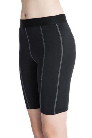 Fashion Fitted Solid Color Quick-Dry Women's Gym Cropped Pants - XL BLACK Mobile