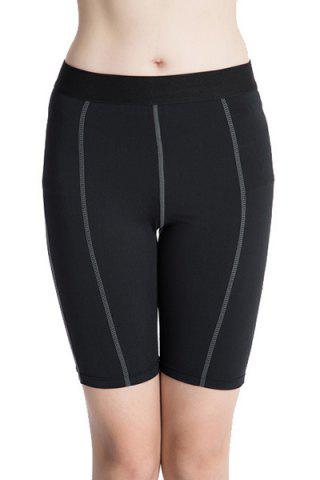 Shop Fitted Solid Color Quick-Dry Women's Gym Cropped Pants - L BLACK Mobile