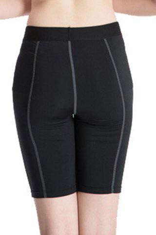Hot Fitted Solid Color Quick-Dry Women's Gym Cropped Pants - M BLACK Mobile
