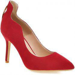 Trendy Metal and Hollow Out Design Pumps For Women - RED 36