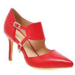Stylish Pointed Toe and Double Buckle Design Pumps For Women - RED