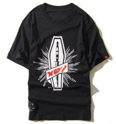 Round Neck 3D Letter and Dagger Print Short Sleeve T-Shirt For Men -