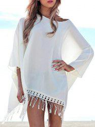 Chic 3/4 Sleeve Pure Color Fringed Women's Cover Up -