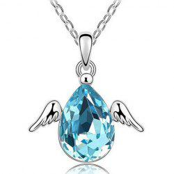 Angel Faux Crystal Water Drop Necklace -