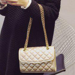 Trendy Checked and Chains Design Crossbody Bag For Women -