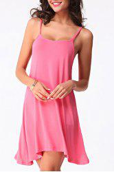 Alluring Spaghetti Strap Open Back Low-Cut Dress For Women - PINK