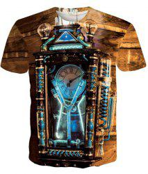 Round Neck Vintage Clock Pattern Short Sleeve Men's T-Shirt - COLORMIX XL