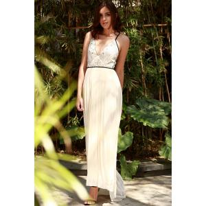 Plunge Floor Length Pleated Chiffon Formal Prom Dress - OFF-WHITE XL
