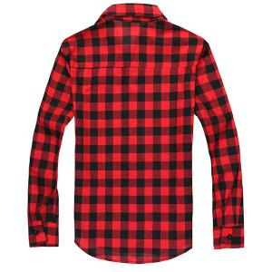 Turn-Down Collar Long Sleeve Slimming Checked Shirt For Men -