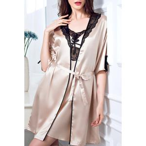 Chic Spaghetti Strap Lace Spliced Silky Babydoll and Kimono Suit For Women - Champagne - Xl