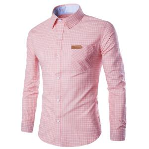 Long Sleeve Slimming Checked Cotton Shirt -