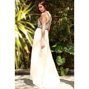 Plunge Floor Length Pleated Chiffon Formal Prom Dress - Off-white - Xl