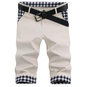 Straight Leg Plaid Print Splicing Zipper Fly Men's Shorts
