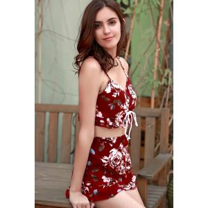 Sexy Spaghetti Straps Crop Top and Printed Shorts Twinset For Women -