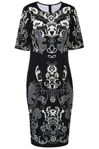 Unique Retro Style Round Neck Short Sleeve Printed Sheathy Prom Dress For Women