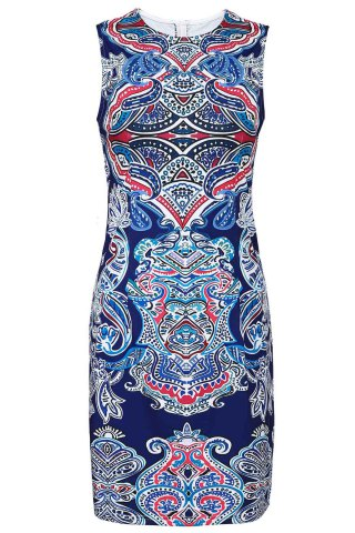 Trendy Retro Style Jewel Neck Sleeveless Colorful Printed Sheathy Prom Dress For Women