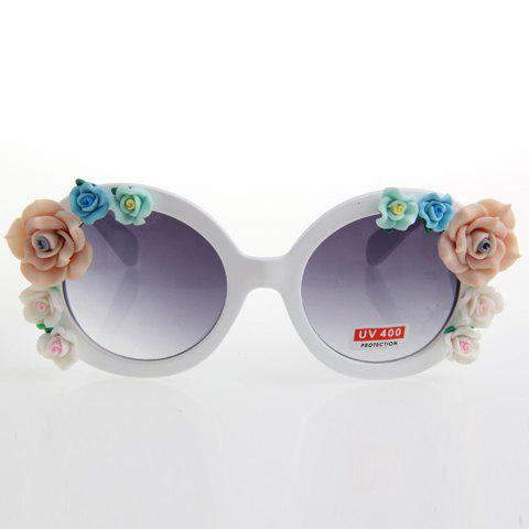 Latest Chic Flower Embellished White Sunglasses For Women