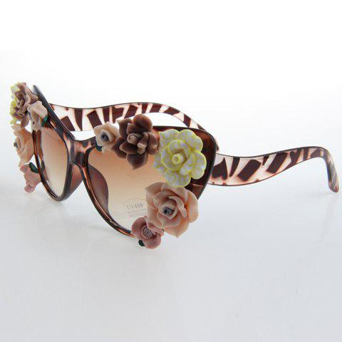New Chic Flower Embellished Flecky Cat Eye Sunglasses For Women