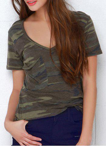 Camouflage Print Short Sleeve V Neck T Shirte 172407301