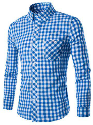 Shops Turn-Down Collar Long Sleeve Slimming Checked Button-Down Shirt For Men